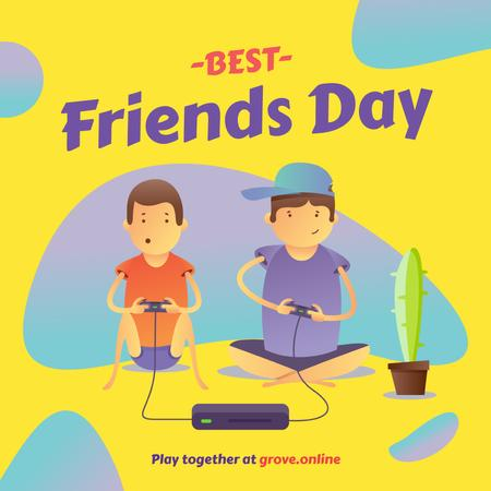 Friends playing video game on Best Friends Day Instagram Design Template