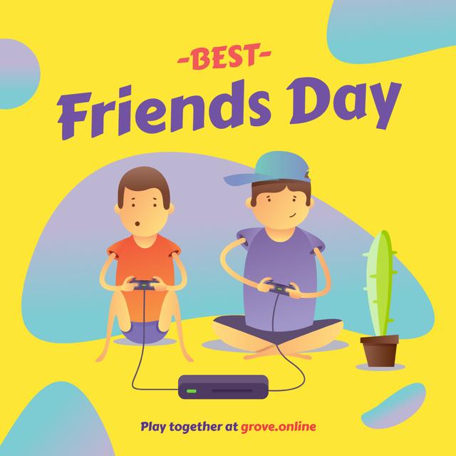 Friends playing video game on Best Friends Day Instagram Tasarım Şablonu
