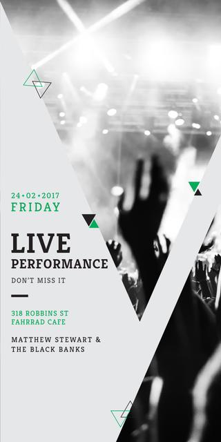 Designvorlage Live Performance Announcement with audience für Graphic