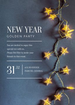 New Year Party Star-Shaped Decorations | Invitation Template
