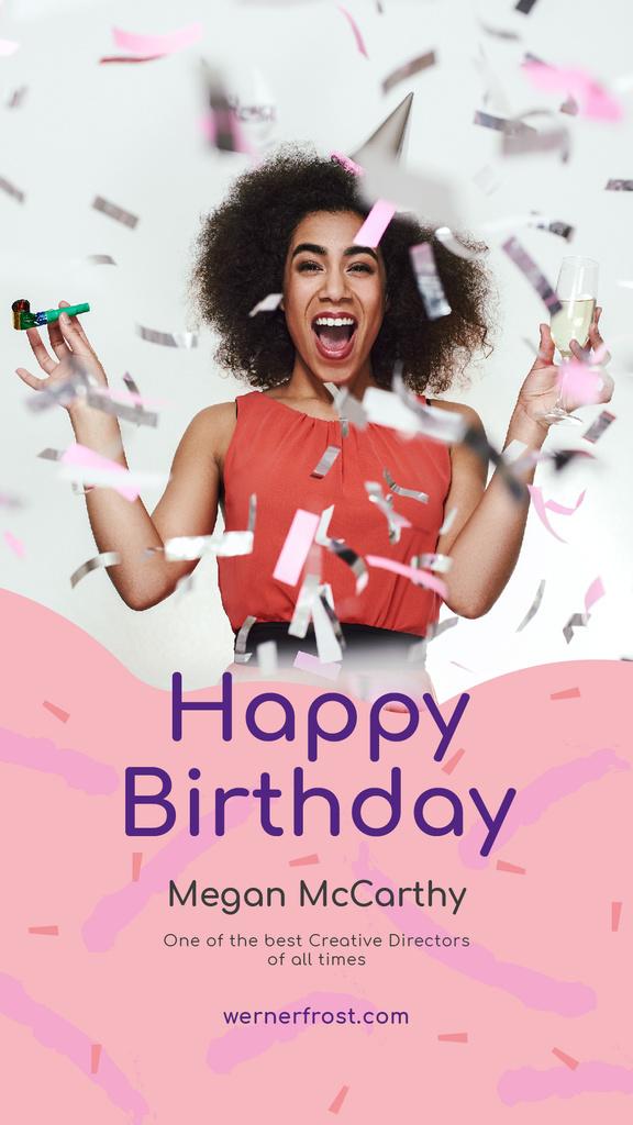 Birthday Celebration Girl Under Falling Confetti - Bir Tasarım Oluşturun