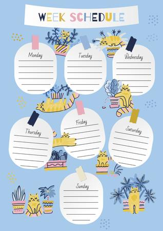 Week Schedule Planner with Funny Cats Schedule Plannerデザインテンプレート
