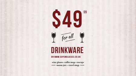 Plantilla de diseño de Drinkware Sale Glass with red wine Title