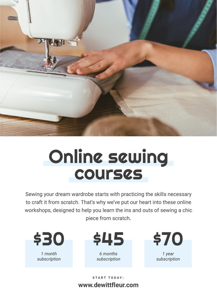 Online Sewing courses Annoucement —デザインを作成する