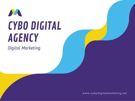Digital Agency Ad with Wavy Lines in Blue Presentation Modelo de Design