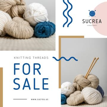 Knitting Equipment Sale Wool Yarn Skeins | Instagram Post Template