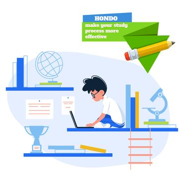 Boy studying with laptop