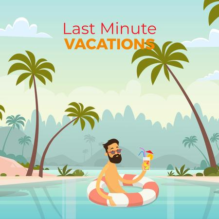 Man with cocktail resting in lifesaver Animated Post – шаблон для дизайна