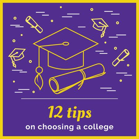 Choosing college tips on Purple Instagram Modelo de Design