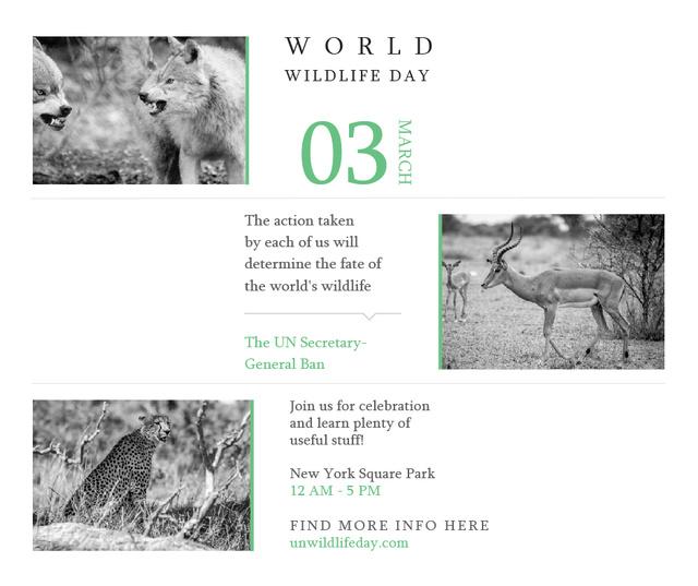 Plantilla de diseño de World Wildlife Day Animals in Natural Habitat Facebook