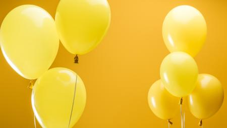 Plantilla de diseño de Festive Yellow air Balloons Zoom Background