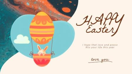 Easter Greeting Bunny on Air Balloon Full HD video Design Template