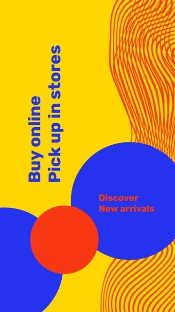 Plantilla de diseño de New arrivals Ad with Colourful Circles Instagram Video Story