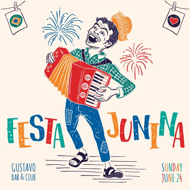 Man playing at Festa Junina party Instagram AD Tasarım Şablonu