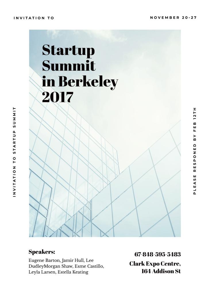 Startup summit announcement on Modern glass building Invitation Tasarım Şablonu