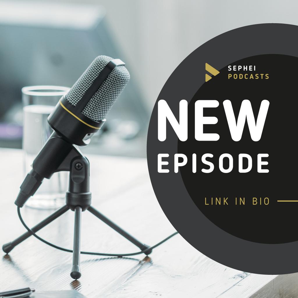 Broadcast microphone in Radio Studio Instagram – шаблон для дизайну