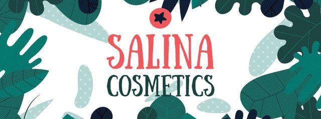 Natural Cosmetics Ad Green Leaves Frame Facebook Video cover Tasarım Şablonu