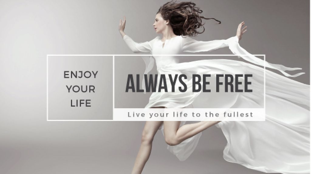 beautiful young woman in white dress and inspirational quote  — Create a Design