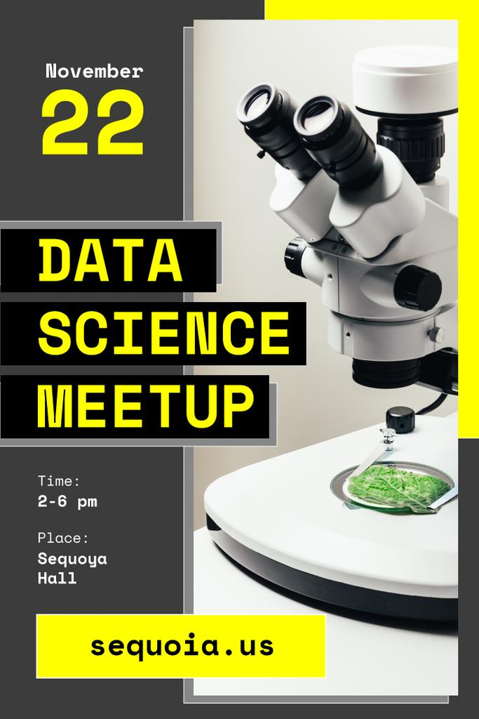 Science Event Announcement Microscope in Lab — Modelo de projeto
