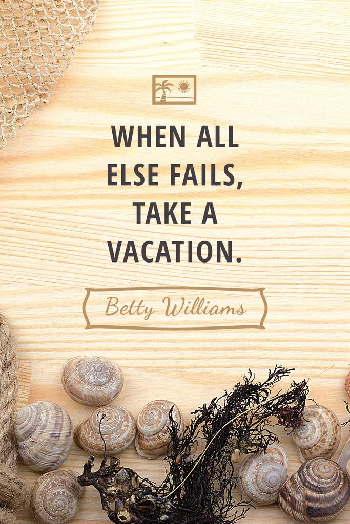 Vacation Inspiration Shells on Wooden Board Tumblr – шаблон для дизайну