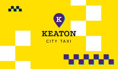 City Taxi Symbol in Yellow Business card Modelo de Design