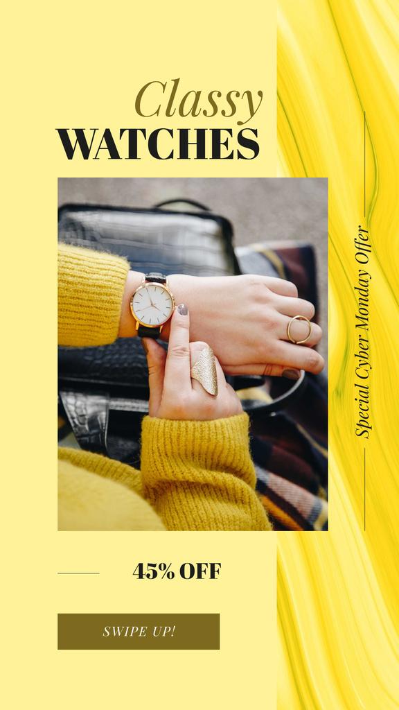 Watch on female wrist — Modelo de projeto