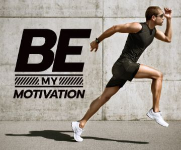 running young man and motivational quote