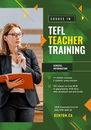Education Event Announcement Woman with Folder Poster – шаблон для дизайна