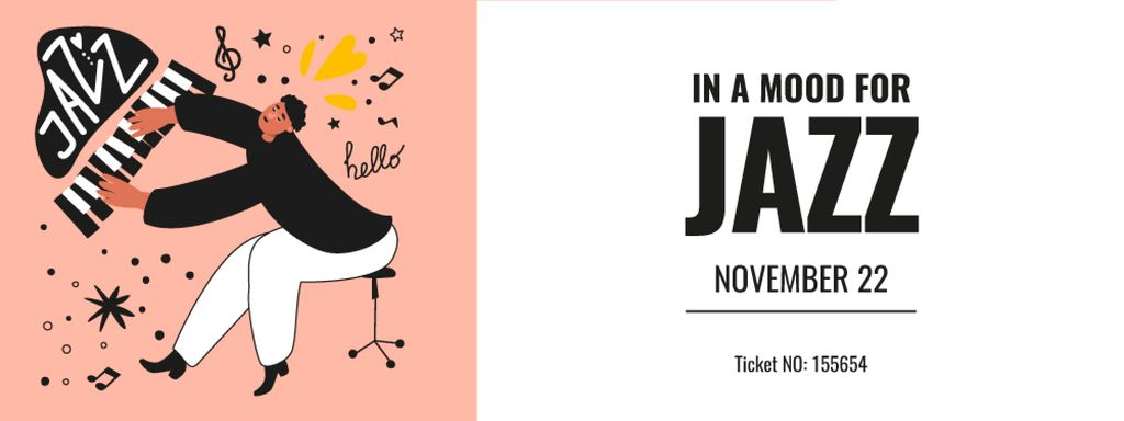 Jazz Event with Musician playing Piano Ticket Πρότυπο σχεδίασης
