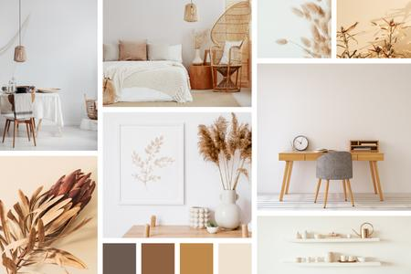 Interior Design in natural colors Mood Board – шаблон для дизайну