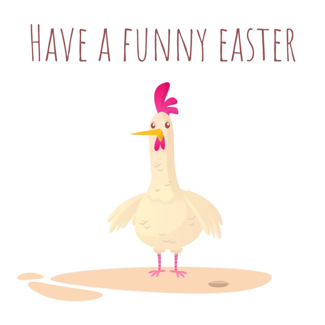 Easter Chicken Laying Colored Egg Animated Post 1080x1080px Template