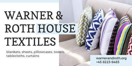 Home Textiles Ad Pillows on Sofa Image Design Template