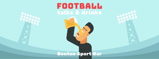 Man drinking beer at football stadium Facebook Video cover Modelo de Design