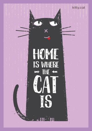 Pet Adoption Quote with Funny Cat in Purple Poster Modelo de Design