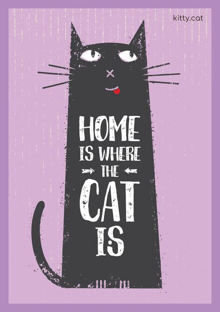 Szablon projektu Pet Adoption Quote with Funny Cat in Purple Poster