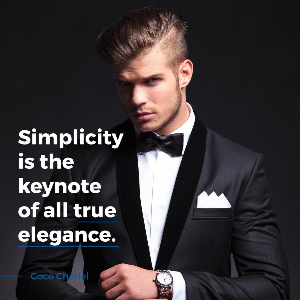 Simplicity is the keynote of all true elegance poster — Modelo de projeto