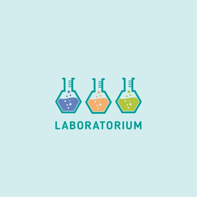 Laboratory Equipment with Glass Flasks Icon Logo – шаблон для дизайну