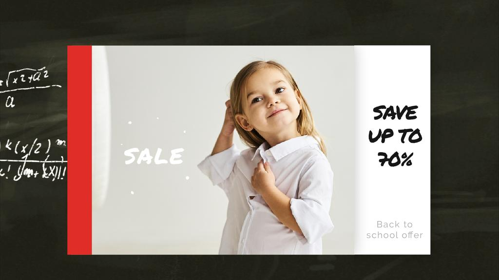Back to School Sale Smiling Girl in Shirt | Full HD Video Template — Создать дизайн