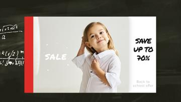 Back to School Sale Smiling Girl in Shirt | Full HD Video Template