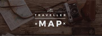 Travelling Inspiration Map with Vintage Camera | Tumblr Banner Template