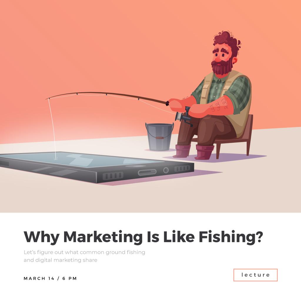 Man fishing in smartphone — Maak een ontwerp