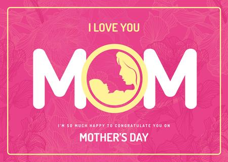 Ontwerpsjabloon van Card van Symbol of mother with baby on Mothers day