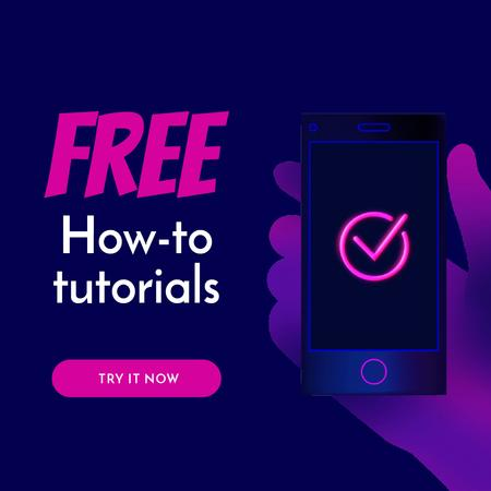 Tutorials blog ad with hand holding Phone Animated Postデザインテンプレート