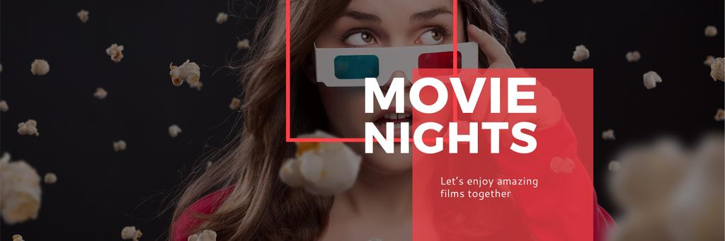 Movie Night Event Woman in 3d Glasses | Twitter Header Template — Создать дизайн