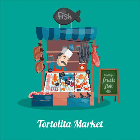 Plantilla de diseño de Seller at the counter of the Fish shop Animated Post