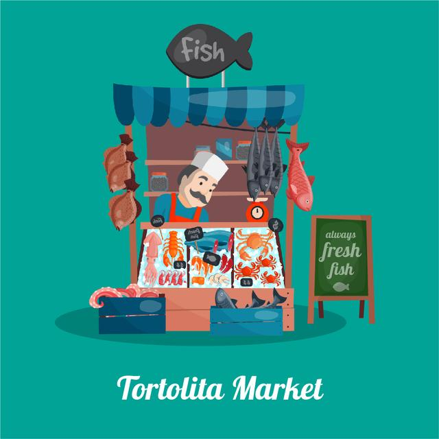 Seller at the counter of the Fish shop Animated Post – шаблон для дизайну