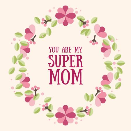 Ontwerpsjabloon van Animated Post van Mothers Day Greeting with Circle frame with flowers