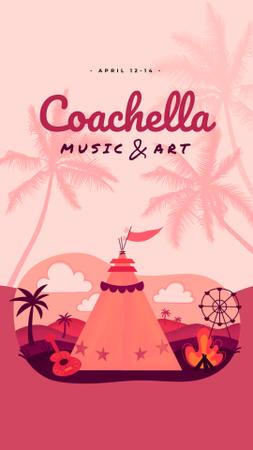 Ontwerpsjabloon van Instagram Video Story van Coachella Invitation Girl in Festival Tent