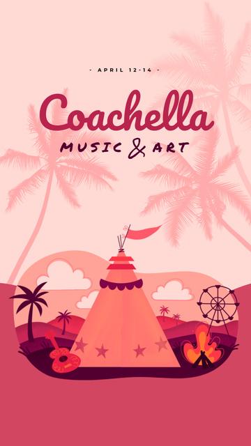 Plantilla de diseño de Coachella Invitation Girl in Festival Tent Instagram Video Story