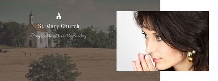 Ontwerpsjabloon van Facebook cover van St. Mary Church with praying Woman